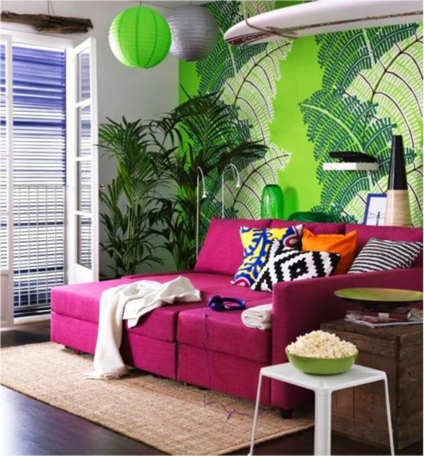 rosa-Sofabetten-im-Wohnzimmer