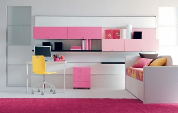 rosa wohnzimmer teppich:rosa-Teppich-Mädchenzimmer-Idee-Design
