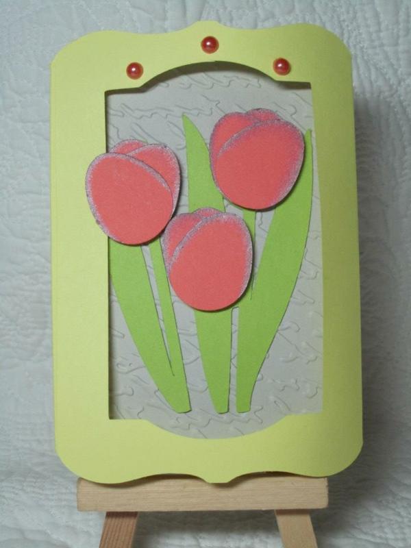 rosige-tulpen-basteln - grüne rahmen
