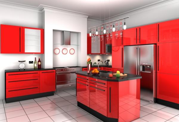 rote--Küche-Effektvolle-Küchengestaltung