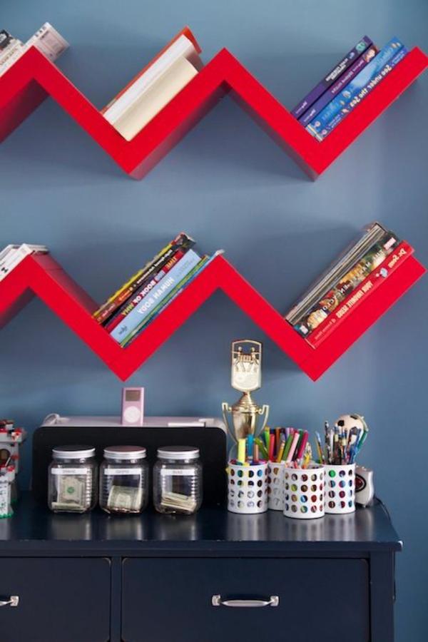rote-effektvolle-Bücherregale