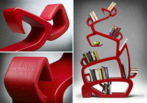roter-baum-bücherregal-design - interessante form