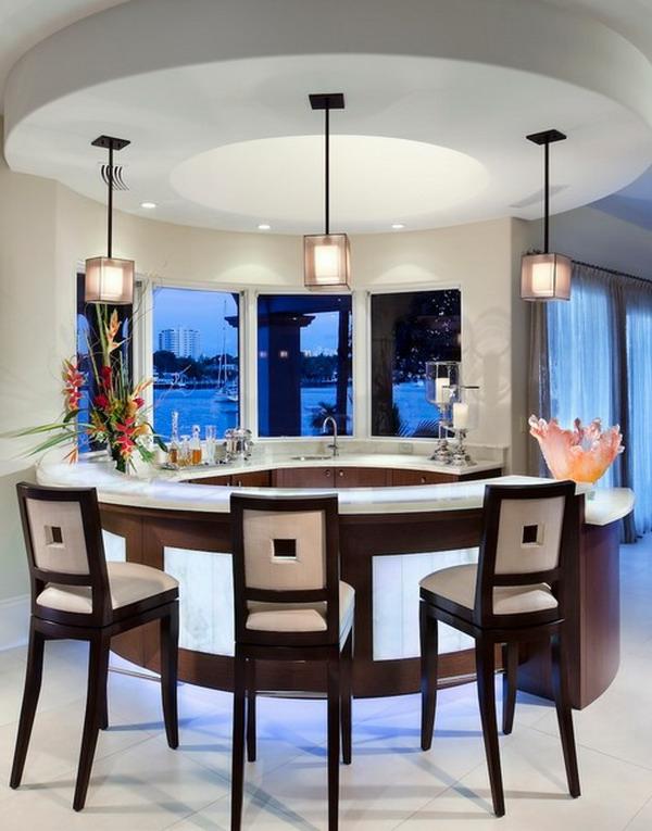 Interior-Design-runde--Bar-in-der-Küche-