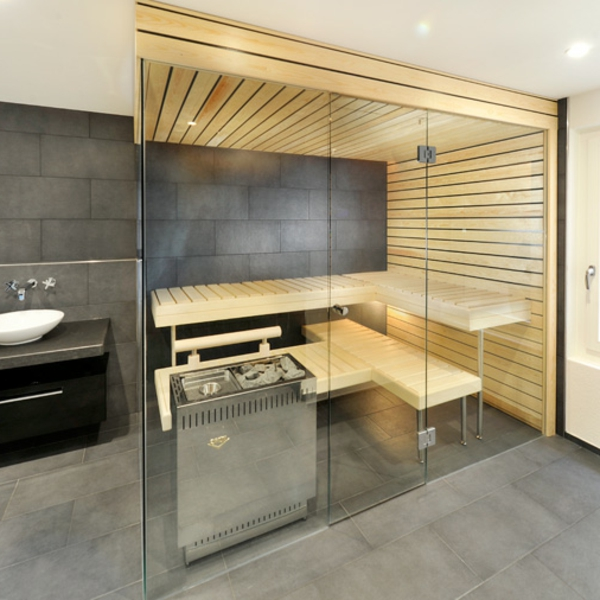 sauna mit glasfront 52 ultramoderne designs. Black Bedroom Furniture Sets. Home Design Ideas