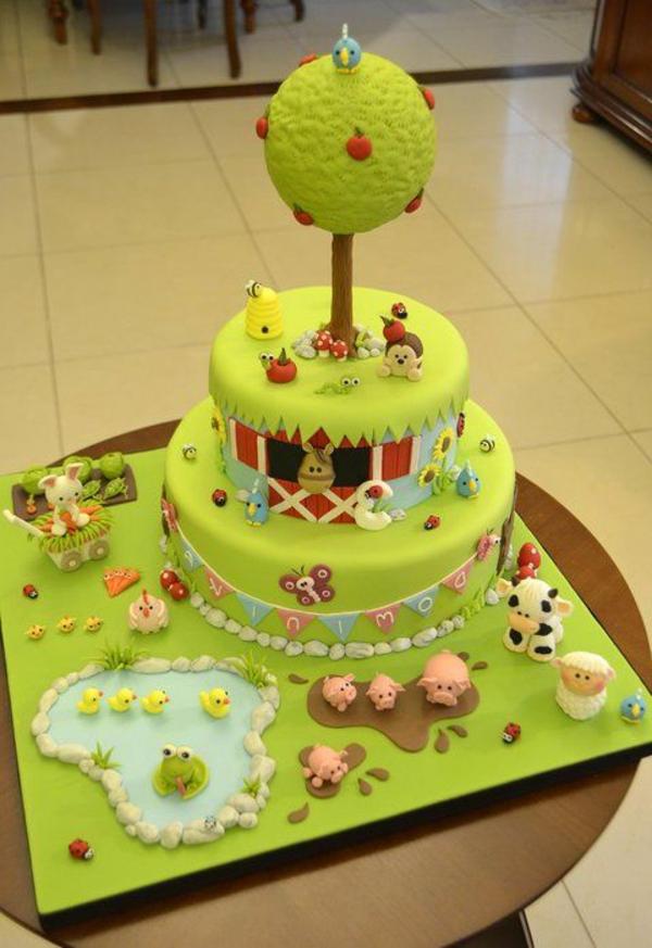 schöne-Farm-Torte-Dekoration