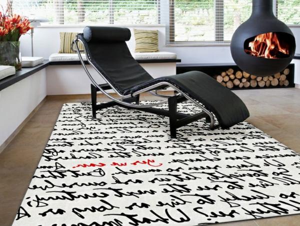 Teppich in schwarz und weiß wunderbare ideen archzine.net
