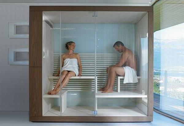 sauna mit glasfront 52 ultramoderne designs. Black Bedroom Furniture Sets. Home Design Ideas