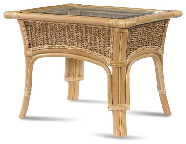schicker-Tisch-mit-Glasplatte-aus-Holz-und-Rattan