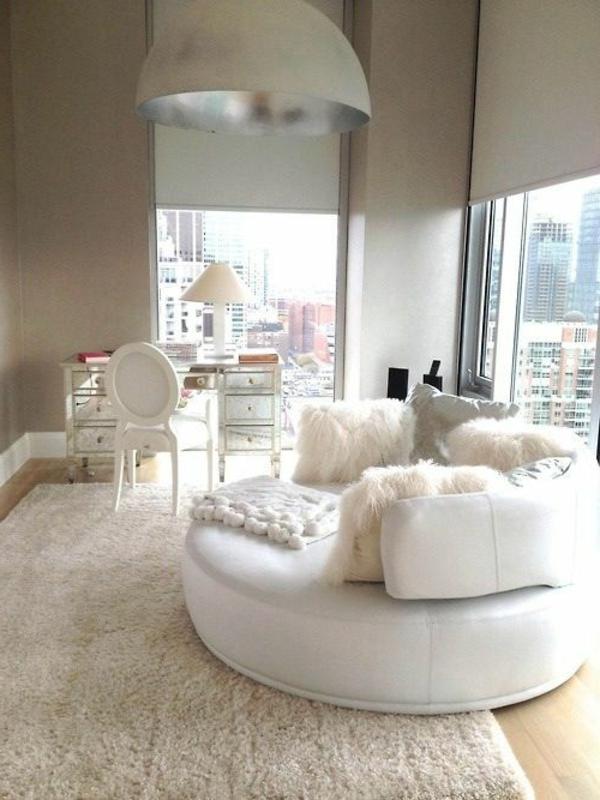 rosa wohnzimmer teppich:schicker-weißer-Teppich-Wohnzimmer-Design