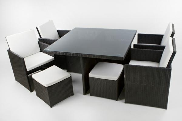 schwarzen-Polyrattan-Hocker-weiße-Sitzkissen