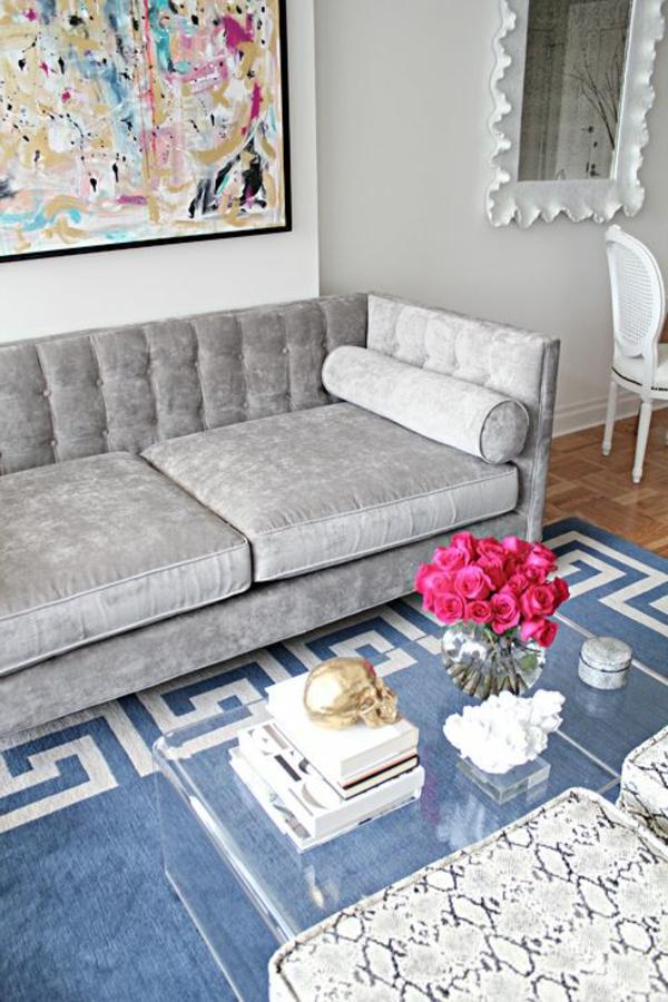 Blauer Teppich. Finest Shabby Chic Kurzflor Teppich Indigo Blau With ...