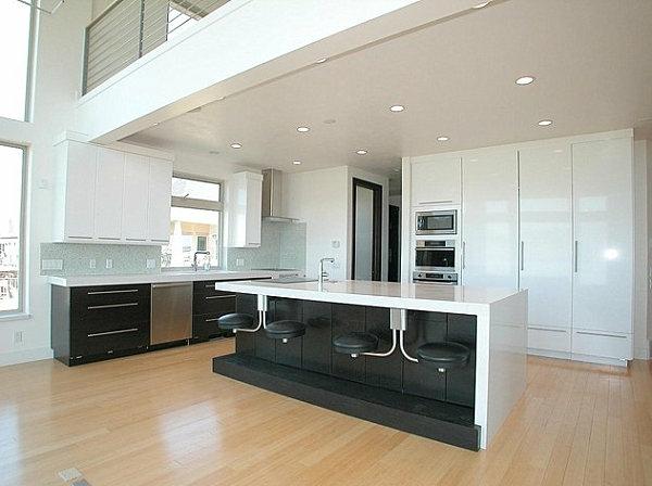 ultra-moderne-Bar-in-der-Küche-schwarz-und-weiß