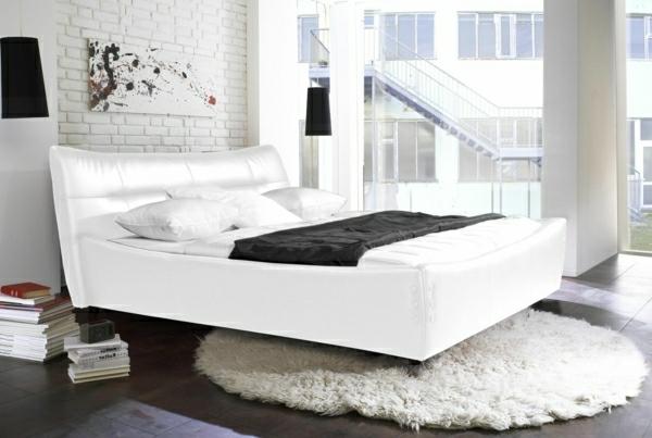 ziegelwand in weiß für eine moderne schlafzimmer - gestaltung