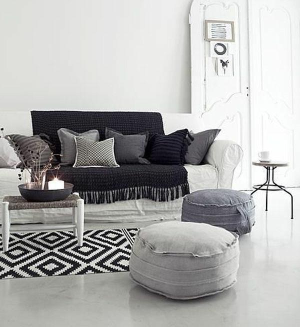 teppich hochflor shaggy linien muster grau schwarz weiss wohn und ...