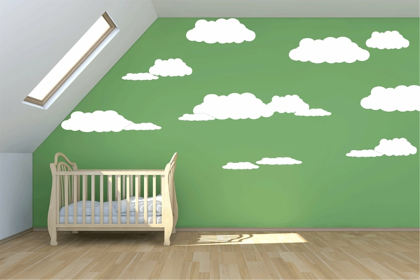 Babyzimmer-Wandgestaltung-in-Grün