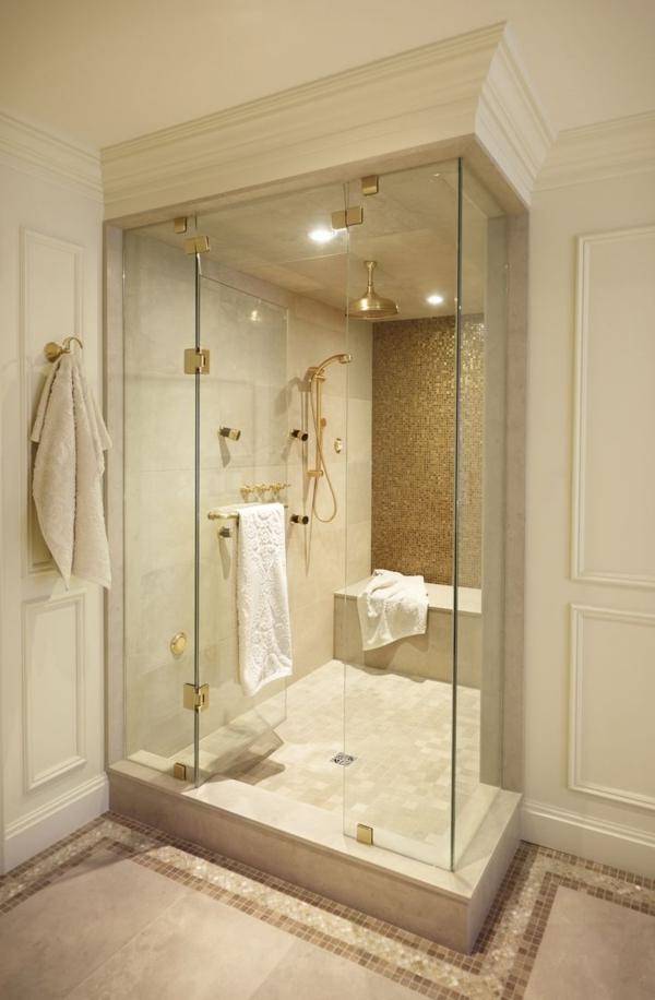 Badezimmer-Duschkabine-aus-Glas-modernes-Design-Gold