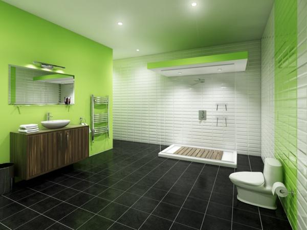 Badezimmer--Wandfarbe-Grüntone-Idee