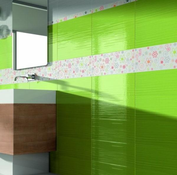 Badideen-für-Fliesen-limegrüne-Farbe-Blumen