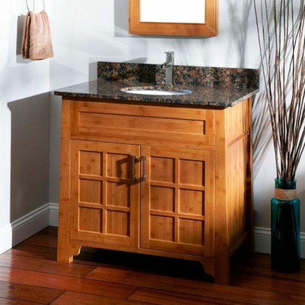Bambus-Waschbeckenunterschrank-Design-Idee
