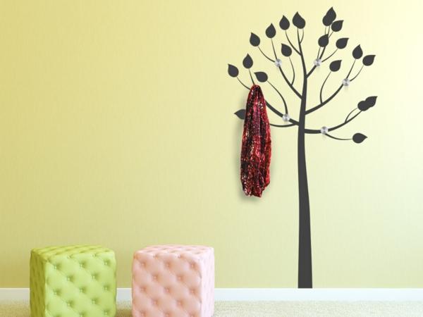 Baum  Fantastisches  Garderobe Wandtattoo Gelbe Wand