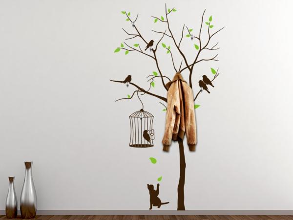 Baum Wunderschönes Garderobe Wandtattoo Graue Wand