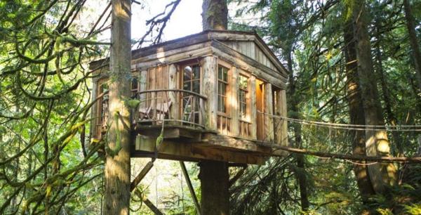 Die Baumhäuser in Berlin besitzen jeweils einen Balkon