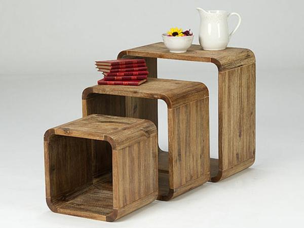 Beistelltische-aus-Holz-verschiedene-Größen-Wohnideen