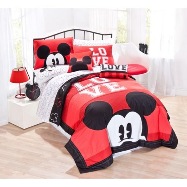 Bettwäsche-Mickey-Mouse-Motive-Rot