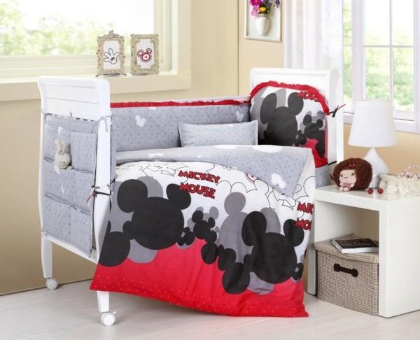 Bettwäsche-Mickey-Mouse-rot-schwarz-grau