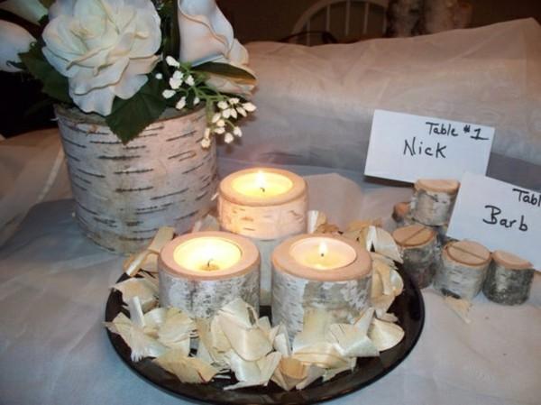 Birkenstamm-Dekorationen-Hochzeitsdeko-Tischdeko