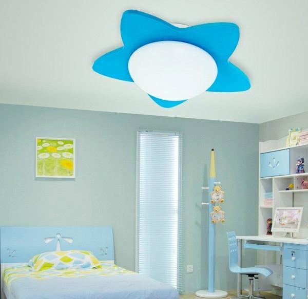 Deckenleuchten-fürs-Kinderzimmer-stern-blaues-farbschema-Blau