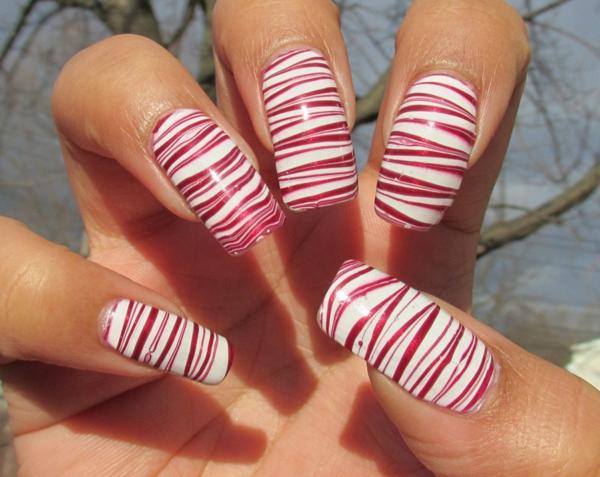 Design-für-Fingernägel-Weiß-Rot
