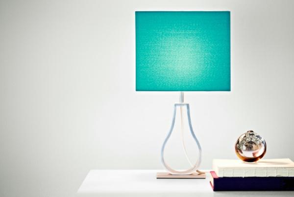 Designer-Tischleuchte-in-Türkis-Farbe