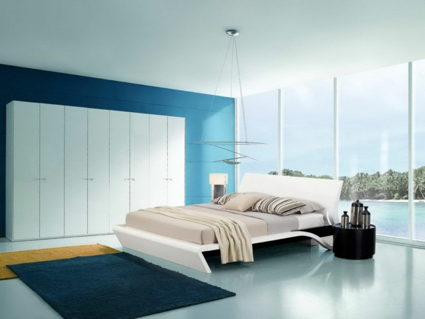 Einrichtungsideen Für Schlafzimmer Schönes Design Blaue Wand Schlafzimmer  Inspiration!