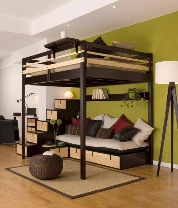Farbbedeutung-Grün-modernes-Bett-Stufenbett