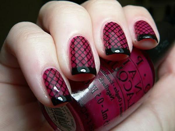 Fingernägel-Design-Idee-Dunkelrot-