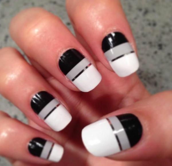 Fingernägel-Design-Ideen-Schwarz-Weiß-Silbern