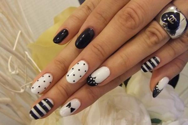Fingernägel-Design-Ideen-in-Weiß-und-Schwarz