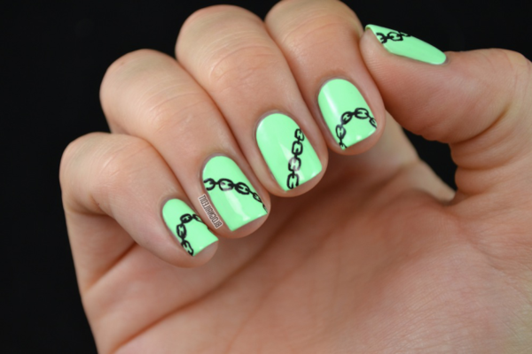 Fingernägel-Design-grellgrüne-Farbe