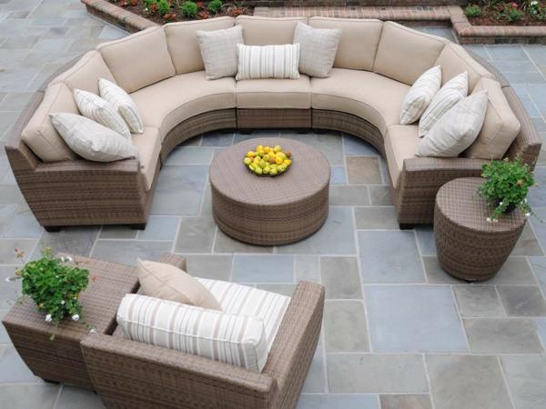 Gartenmöbel-Sofa-halbrund-Beige