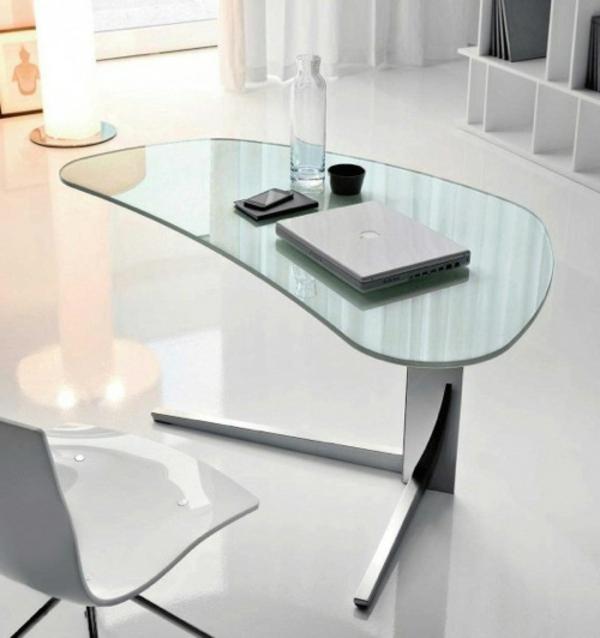 glasschreibtisch effektvolle modelle