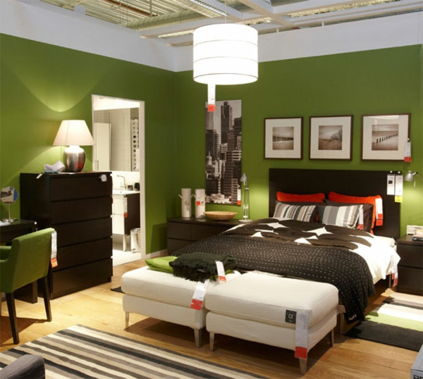 100 ideen für wandgestaltung in grün! - archzine.net - Schlafzimmer Olivgrun Weis