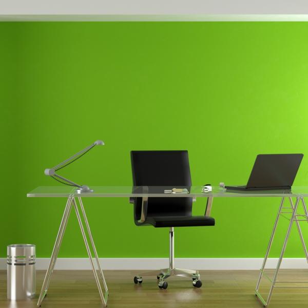 Heimbüro--Wandfarbe-Grüntone