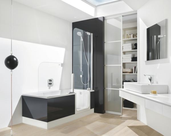 Innedesign-modere-Badezimmer-schwarz-weiß