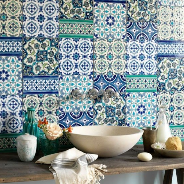 Küche-Marokkanisches-Design-Fliesen-Grün-Blau