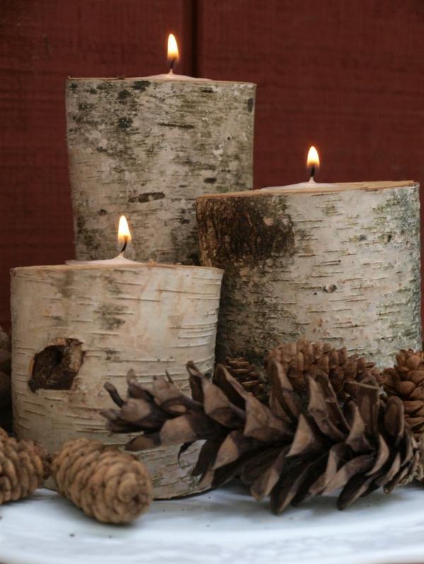 Kerzen-Birkenstamm-Deko