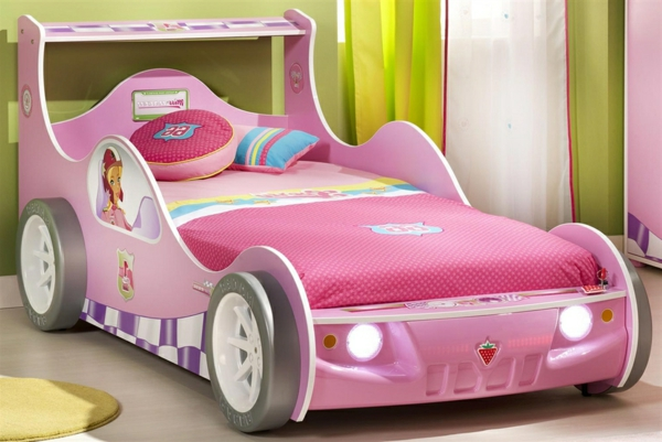 Kinderbett-Schlafzimmer-in-Rosa