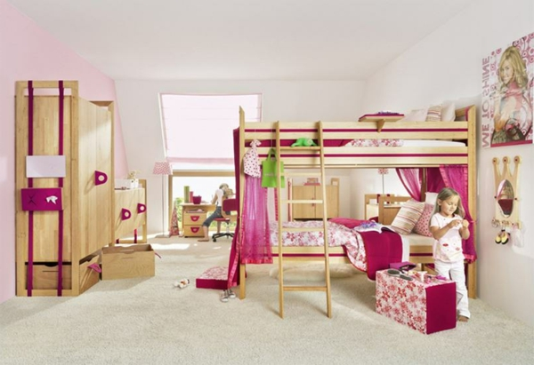 Kinderzimmer-Design-Schlafzimmer-in-Rosa-