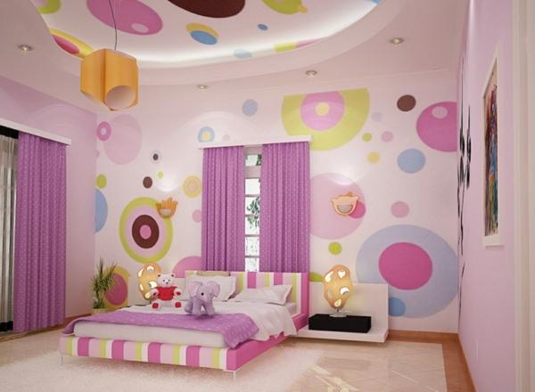 Wohnzimmer ideen wandgestaltung lila  lila goldene wand streichen komponiert on moderne deko idee in ...