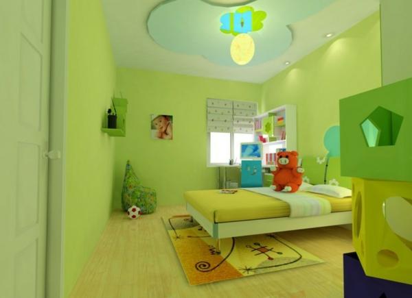 Kinderzimmer-Wandgestaltung-in-grüner-Farbe